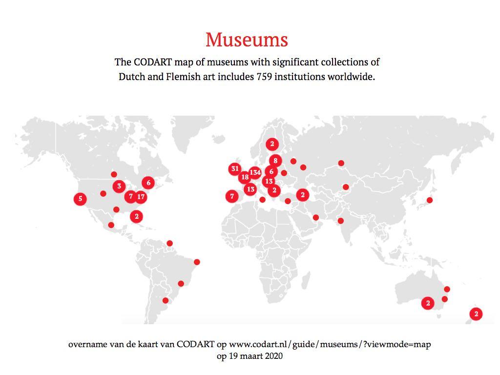 wereldkaart met musea met Vlaamse en Hollandse meesters