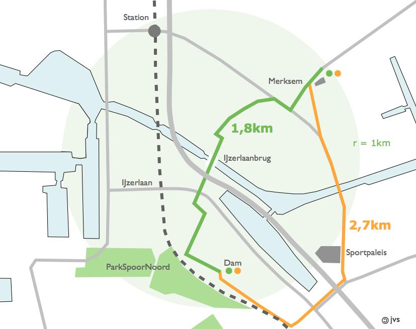 plan met trajecten tussen Merksem en den Dam, met en zonder IJzerlaanbrug