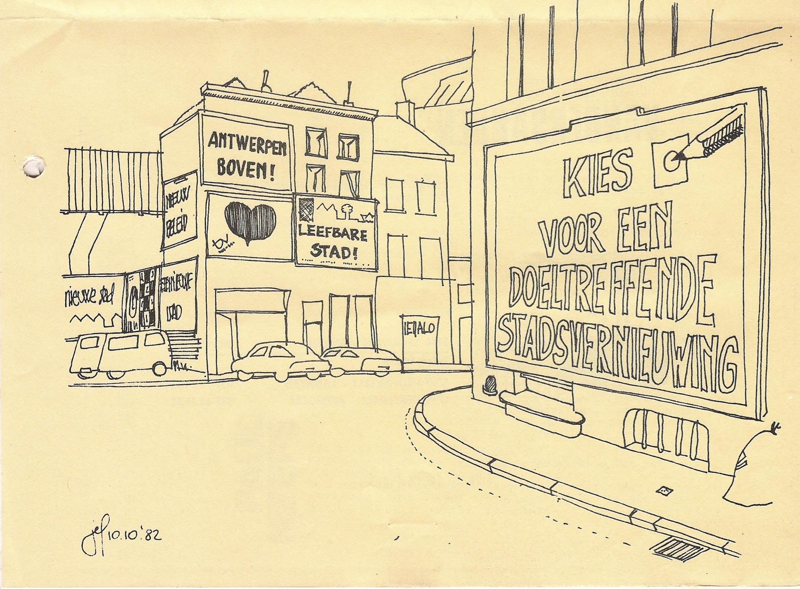 1982, verkiezingsaffiches in Antwerpen voor stadsvernieuwing